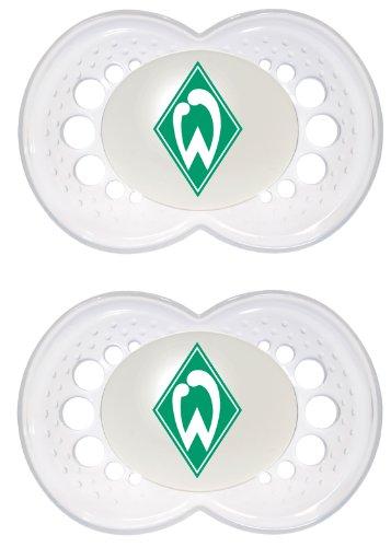 MAM Football Schnuller im 2er-Set, Original Schnuller im Fan Design vom SV Werder Bremen, zahnfreundlicher Baby Schnuller aus MAM SkinSoft Silikon, 6-16 Monate