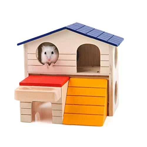 IUwnHceE Zwerghamster Haus Durable Geruchs- Ungiftige Deluxe Zwei Schichten Holzhütte Für Hamster Spielzeug