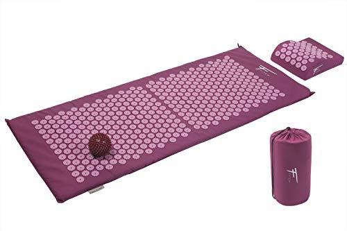 Fitem Kit de acupresión XL - Cojín + Esterilla de acupresión + Bola de masaje - Alivia dolores de Espalda y Cuello - Masaje de espalda - Esterilla 130 x 50 x 2,5 cm, cojín: 30 x 23 x 10 cm