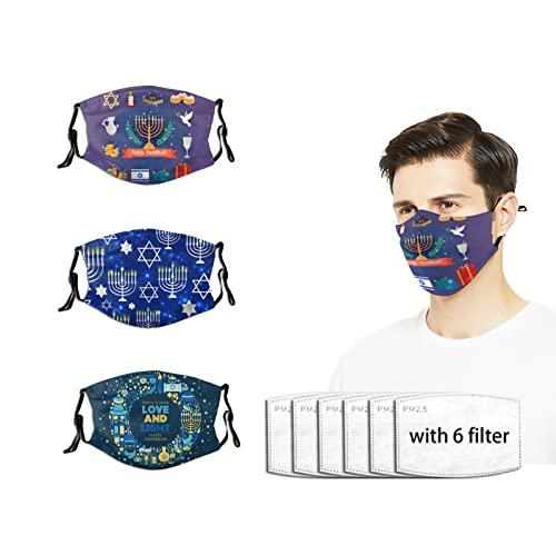 3 PCS Happy Hanukkah Face Mask with 6 Filters Adjustable Masks Unisex Breathable Reusable Cloth Mask