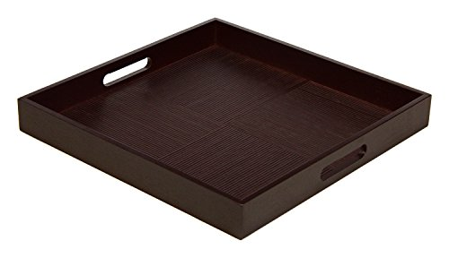 Simply Bamboo BDTS16 Espresso Brown Bamboo Wood Square Serving Tray  Decorative Platters for Ottoman  Kitchen TableTop  Coffee Tray - 16 x 16 x 2