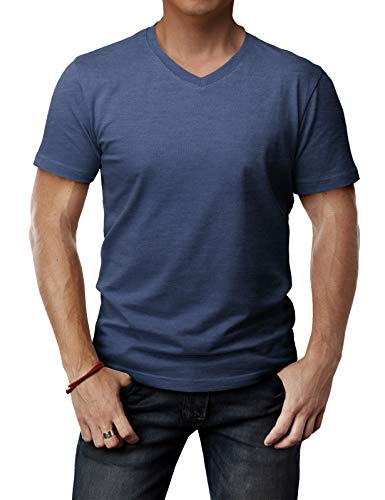 H2H Mens Soft Touch to Skin Cotton Blend V Neck Short Sleeve T-Shirts DARKBLUE US XL/Asia XXL (CMTTS0197)