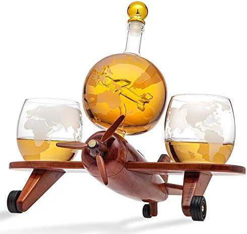 Godinger Whiskey Decanter Airplane Globe Set with 2 World Whisky Glasses for Liquor Scotch Bourbon product image