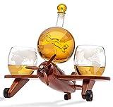 Godinger Whiskey Dekanter Flugzeug Globus Set mit 2 World Whisky Gläsern – für Likör, Scotch, Bourbon, Wodka