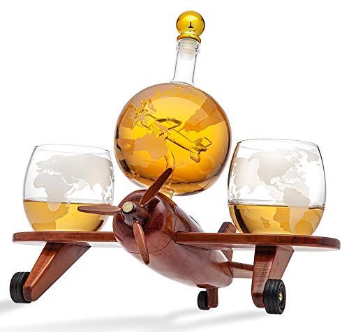Godinger Juego de 2 vasos de whisky con decantador de whisky, para licor, vodka