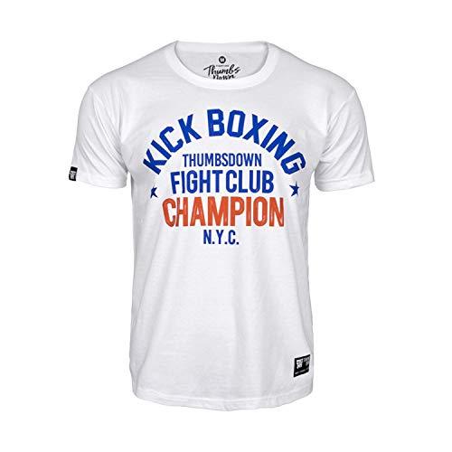 Pulgares Down Kick Boxeo Camiseta Fight Club. N.y. C. MMA. Gimnasio Entrenamiento. Marcial Artes Informal - Blanco, XL