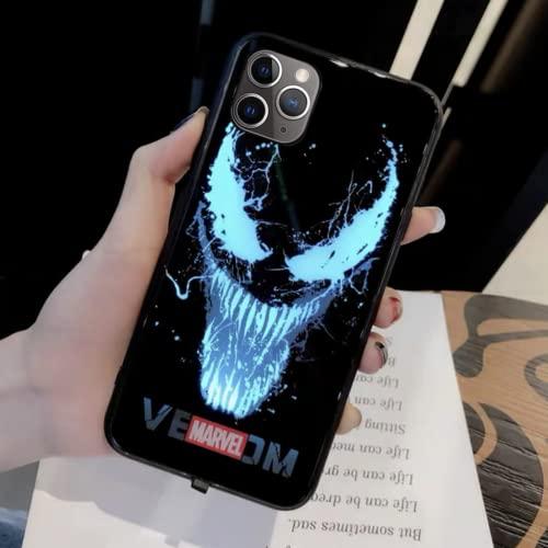 Venom LED Light Up Case for iPhone 12 Pro Max Luminous Comic Anime Superhero Phone case Colorful Luminescent Fashion Luxury Tempered Glass Hybrid Phone Case Accessories for Men (iPhone 12 Pro Max)