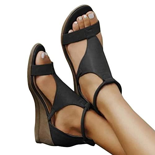 Shownicer Sandalias de Tacón de Cuña para Mujer Zapatos de Verano con Punta Abierta Plataforma de Cuero Sintético Zapatos de Verano Negro 38 EU
