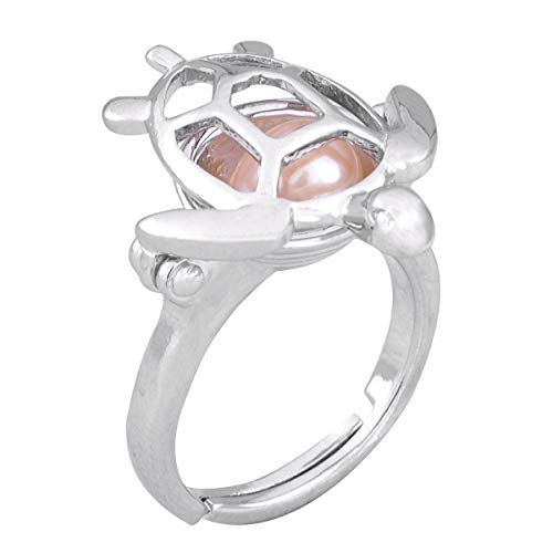 HENGSHENG 1 Piece Turtle Shape Hollow Locket Ring Setting Cage Ring Base Ring Fitting(DO NOT Includes Any Bead)