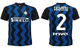 Hakimi Inter 2021 Heimtrikot 2020-2021 für Erwachsene, Kinder, Achraf, schwarz, hellblau, 2 (8 Jahre)