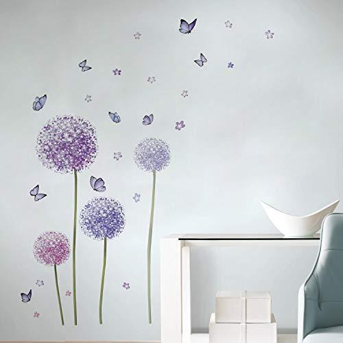 Runtoo Pegatinas de Pared Flores Stickers Adhesivos Vinilo Mariposas Diente de León Decorativas Dormitorio Salon Habitacion Bebe