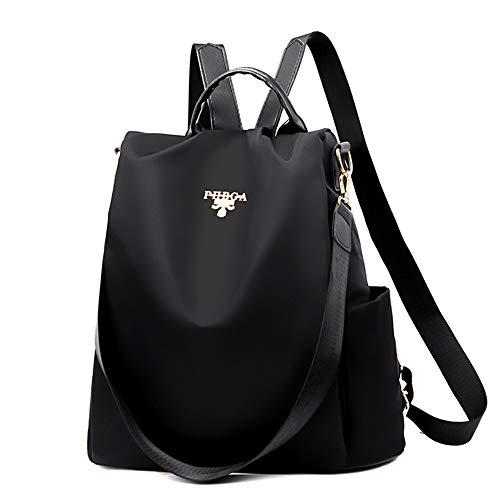 Cartera Impermeable de Nylon antirrobo,Personalidad de Moda Bolsa,Antirrobo Paquete de Viaje y Ocio para,Purse Waterproof Nylon Anti-Theft Backpacks (Negro)