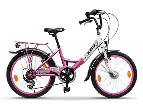 XB3 Kinderfahrrad 20 Zoll Mädchen mit Gangschaltung 6 Gänge StVZO Nabendynamo LED-Licht Standlicht (Pink)