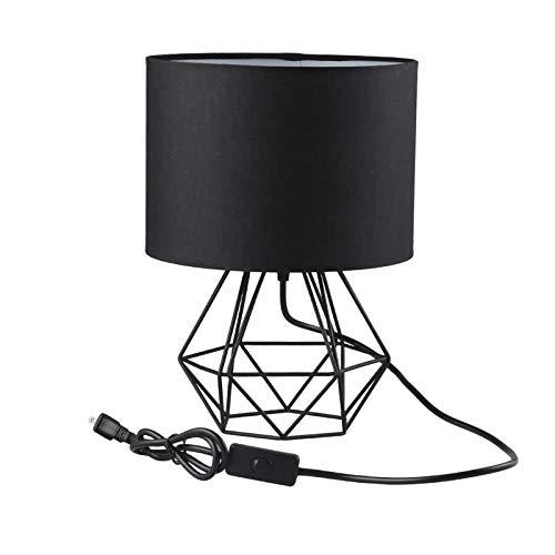 Lámpara de Mesa Metal Mini Vintage Con Interruptor de Cable y Enchufe Lámpara de Noche Luces de Lectura Pantalla de Tela Lámpara de Oficina Para Cuarto Sala Hotel Espacio de Trabajo,Negro
