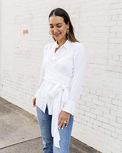The Drop Camisa para Mujer Envolvente Abotonada, Blanco, por @kathleen_barnes