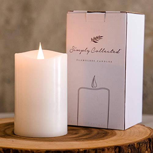 3D Flickering FLAMELESS Candles Battery Operated - 800+ Hours Gorgeous Dancing Flame with Bright White Flicker - 360 Degree Real Wax Pillar Large LED Candles with Timers; (White 3x5 inches) Unscented
