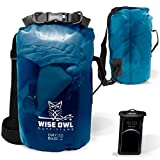 Wise Owl Outfitters Dry Bag - Thick Durable Waterproof Bags - Fully Submersible See Through Roll Top Drybag Great for Kayaks Boat Water Sports & Camping - 5L 10L and 20L Sizes