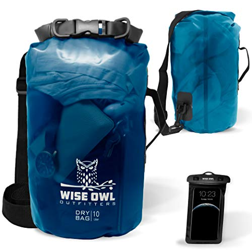 Wise Owl Outfitters Dry Bag - Thick Durable Waterproof See-Through Bags - for Kayak Boat Water Sports & Camping - 5L 10L and 20L Sizes - Clear Blue, 5L