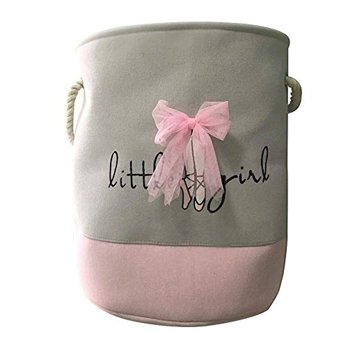 MOGOI Spielzeug Aufbewahrungskorb, pink, Baumwolle klappbar Organizer Korb mit Griff für Mädchen Wäschesammler, Geschenk Körbe, Schlafzimmer, Kleidung, Baby Kinderzimmer 2