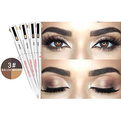 4-in-1 Eyebrow Pencil Eyebrow Contour Pen Defining Highlighting Brow Microblading Natural, Long-Lasting, Easy to Wear (C)