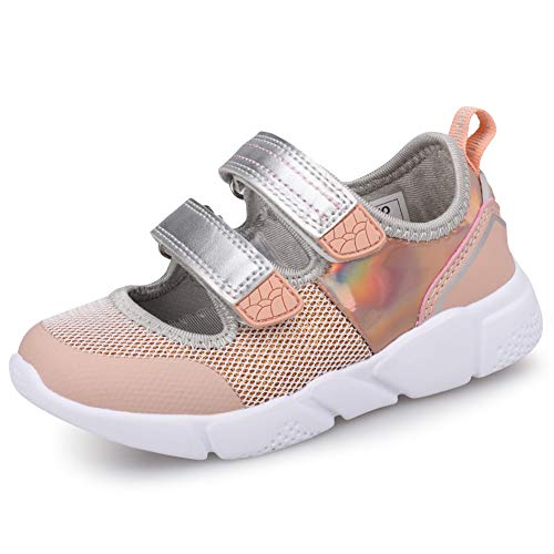 UOVO Girls Mary Jane Shoes Girls Flats Sneakers Kids Shoes Slip On Glitter Straps Ballerina Shoes for Girls (10 M US Little Kid,Rose Silver)