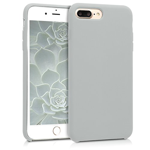 kwmobile TPU Silicone Case for Apple iPhone 7 Plus / 8 Plus - Soft Flexible Rubber Protective Cover - Light Grey Matte
