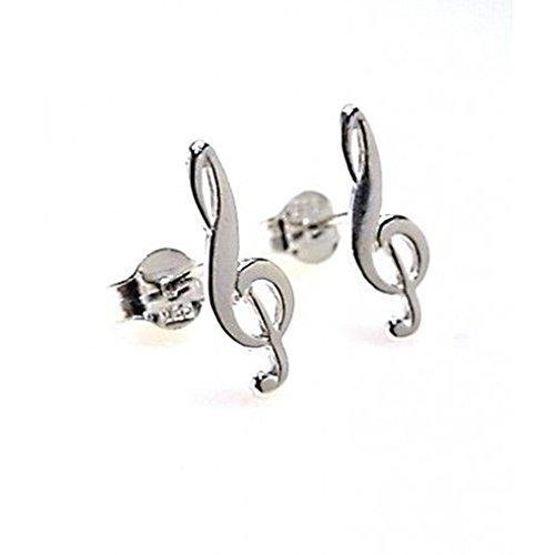 Minoplata Pendientes de la Clave de Sol de Plata de Ley un diseño Precioso Ideal para los Amantes de la música