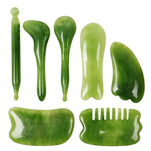 LTGB Set of 7 Gua Sha Natural Green Jade Quartz Stone Facial Body Massage Board Tool