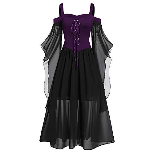 CHARMMA Übergroßes Gothic Halloween-Kleid, Festlich A-Linie Schnürkleid mit Schmetterlingsärmeln, Kostüm mit Träger für Halloween Damen...