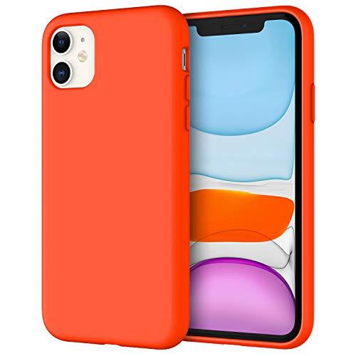 JETech Silicone Hülle für iPhone 11 (2019) 6,1-Zoll, seidigem Ganzkörper-Schutzhülle Hülle Cover, mit weichem Mikrofaser-Innenfutter stoßfestes Abdeckung, Orangerot