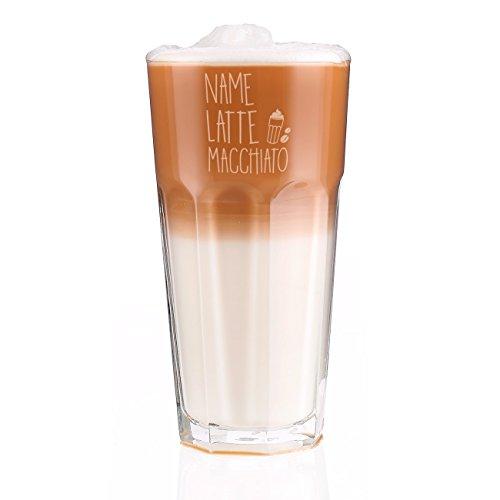 Herz & Heim® graviertes Latte Macchiato Glas mit eigenem Namen