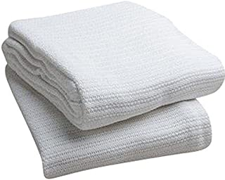 Elivo 100% Cotton Hospital Thermal Blankets - Open Weave Cotton Blankets - Breathable and Prevent Overheating - Soft, Comfortable and Warm - Hand and Machine Washable - 1 Pack
