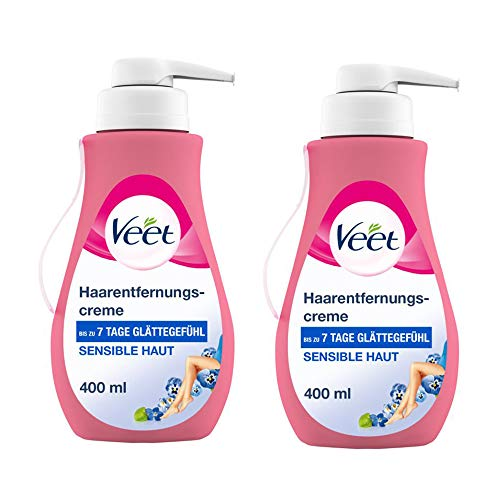 Veet Sensitive Haarentfernungscreme – Schnelle & effektive Haarentfernung für seidig-glatte Haut – Anwendungszeit 5-10 Minuten – 400 ml Spender mit Spatel (2 x 400ml)