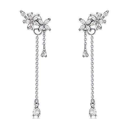 MSECVOI 925 Sterling Silver Leaves Wrap Earrings Crawler for Women Dainty Flowers Threader Tassel Chain