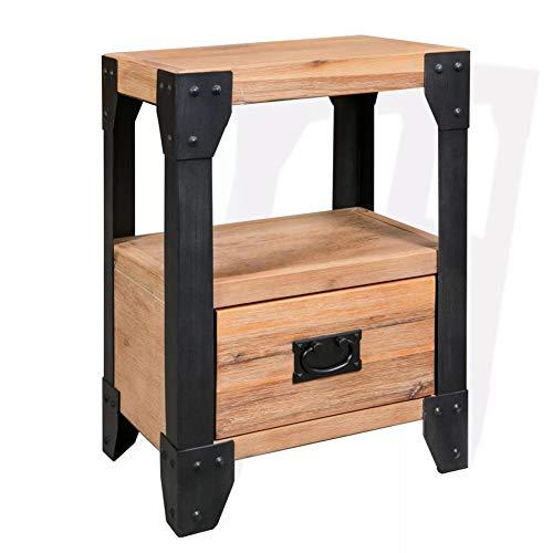 Ausla - Mesilla de noche industrial con cajón y compartimento abierto, mesa auxiliar de madera de acacia maciza, mueble de almacenamiento para salón, pasillo, dormitorio, oficina, 40 x 30 x 54 cm