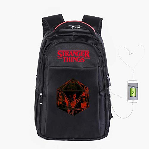 Backpack School Stranger Things Printed College Laptop Bag For Adults/Elementary/middle School Students With USB Charging Hole Black-19 inches