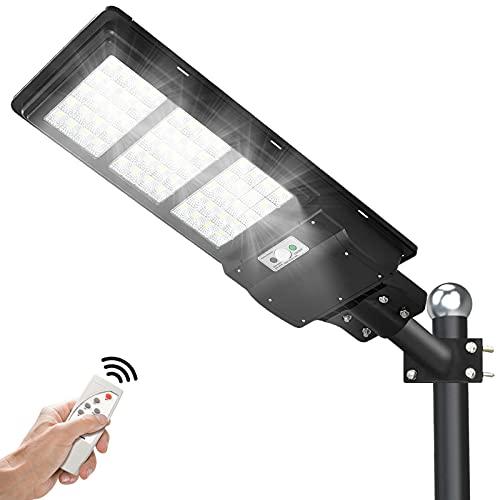 eTzone 200W Solar LED Street Lights 30000LM 6000K 240 LED Solar Street Lamp Outdoor with Motion Sensor Remote Control Solar Parking Lot Lights for Park, Street, Garage, Patio, Garden, Driveway