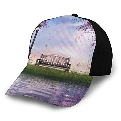 Hip Hop Sun Hat Baseball Cap,Bench On Flowing River with Crescent Moon Lavender Trees and Grass Illustration,for Men&Women