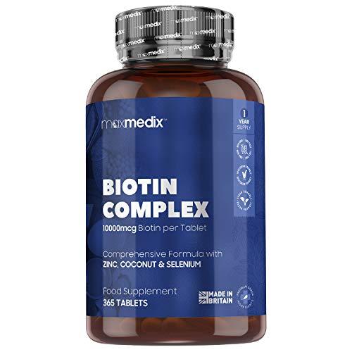 Biotina Zinc y Selenio 10000 mcg 365 Comprimidos Vegano - Suplemento Vitamínico Para...