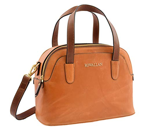 Womens Cognac Leather Tote Handbag Zip Top Dress Smart Casual Designer...