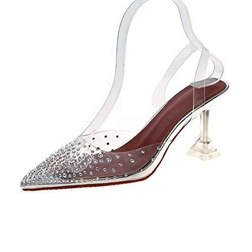 Zent Zapatos de tacón Alto para Mujer Zapatos de Vampiro Transparentes Modernos Bombas de Fiesta Femeninas Tacón de Aguja Puntiagudo Sapato Femenino, Plata, 38