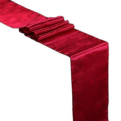 GlobalDeal Direct Chemin de table satiné 30,5 x 274,3 cm pour salle de mariage, fête, décoration de bureau – Bordeaux