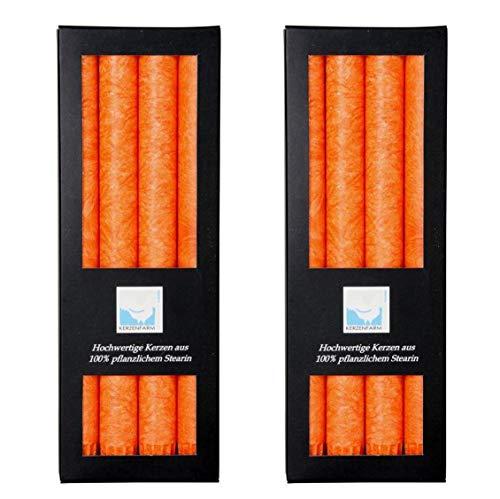 Kerzenfarm Hahn 8 Stearin-Stabkerzen, 8er Set (2x4 STK.), 22 x 250 mm, Orange, pflanzliches Echtwachs, Tafelkerzen