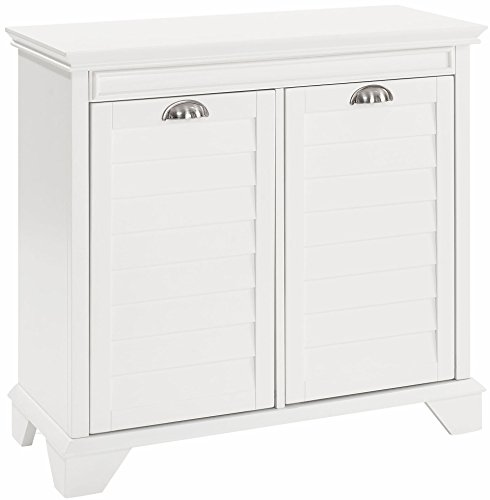 Crosley Furniture Lydia Two-Compartment Linen Hamper - White