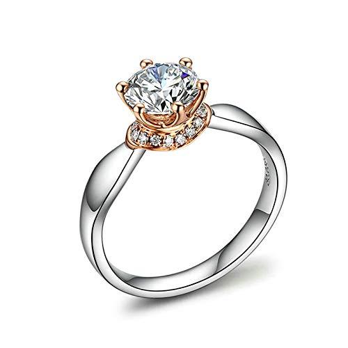 AmDxD Echte Gold Schmuck, Verlobungsringe AU 750 Echte Weiß Gold mit 6-Steg-Krappenfassung SI F-G 1CT Diamant, Hochzeitsring Diamantring Geschenk für Mama und Liebe, Weiß Gold Gr.62 (19.7)