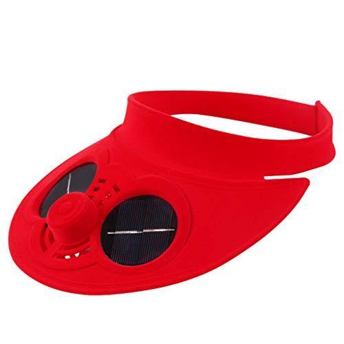 MYBOON Ventilador de refrigeración con energía Solar Sombrero de Playa Protector Solar Gorra de béisbol Superior vacía al Aire Libre, Gorra de béisbol, Rojo