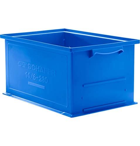 SSI SCHÄFER Stapelkasten 14/6-230 mit Griffmulde, Inhalt 26 Liter, Tragkraft 30 kg, (Blau)