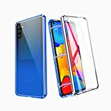 ZHIKE Samsung Galaxy A91/M80s/S10 Lite Case, Gradient Color Magnetic Metal Frame Double Side Tempered Glass Full Screen Coverage One-Piece Flip Anti-Slip Design Cover (Blue-Silver)