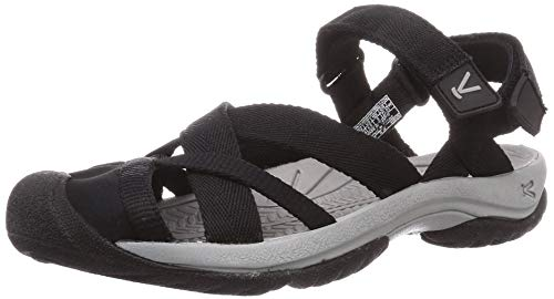 KEEN KIRA ANKL Strap Damen leichte Outdoor-Sandalen,Klettverschluss,schnelltrocknend,Zehenschutz,Black,39.5 EU (9 US)