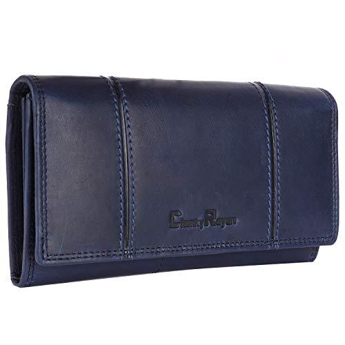 Chunkyrayan Bolsa de Cuero Real para Mujeres Protección RFID Vintage Incluye Llavero de Cuero GB-13 Blue